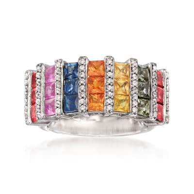 3.70 ct. t.w. Multicolored Sapphire and .54 ct. t.w. White Zircon Ring in Sterling Silver