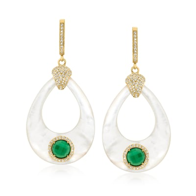 Mother-Of-Pearl, Green Agate, 1.80 ct. t.w. White Topaz Teardrop Earrings in 18kt Gold Over Sterling