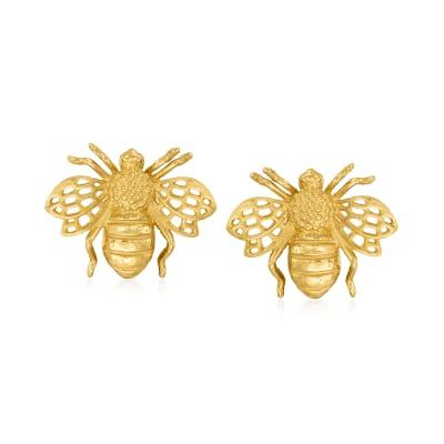 14kt Yellow Gold Bumblebee Stud Earrings