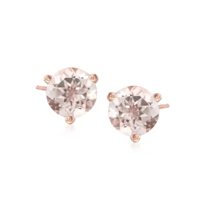 1.50 ct. t.w. Morganite Stud Earrings in 14kt Rose Gold