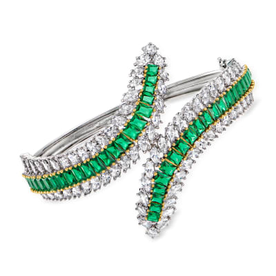 8.30 ct. t.w. CZ and 7.55 ct. t.w. Simulated Emerald Bypass Bangle Bracelet in Two-Tone Sterling Silver
