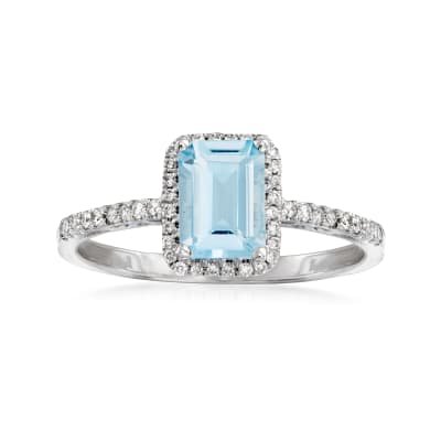 .80 Carat Aquamarine and .17 ct. t.w. Diamond Ring in 14kt White Gold