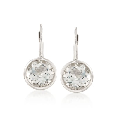 11.00 ct. t.w. Bezel-Set White Topaz Earrings in Sterling Silver