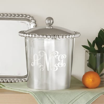 "Mariposa ""String of Pearls"" Personalized Ice Bucket"