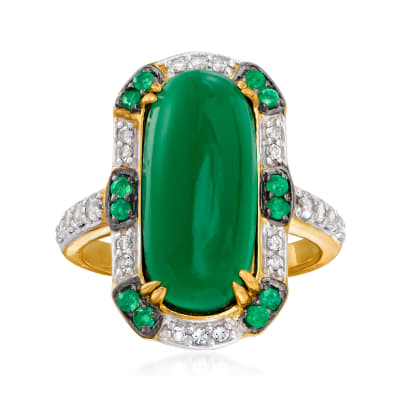 Green Chalcedony, .35 ct. t.w. White Topaz and .30 ct. t.w. Emerald Ring in 18kt Gold Over Sterling