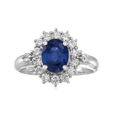 C. 2000 Vintage 1.81 Carat Sapphire and .54 ct. t.w. Diamond Ring in Platinum