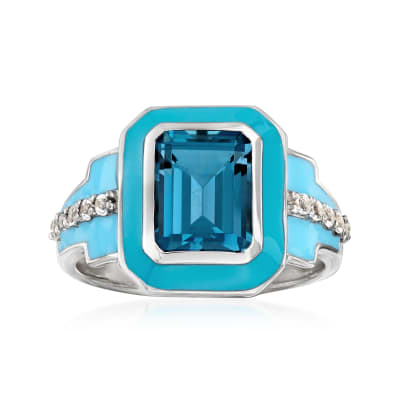 3.10 ct. t.w. London Blue and White Topaz Ring with Blue Enamel in Sterling Silver