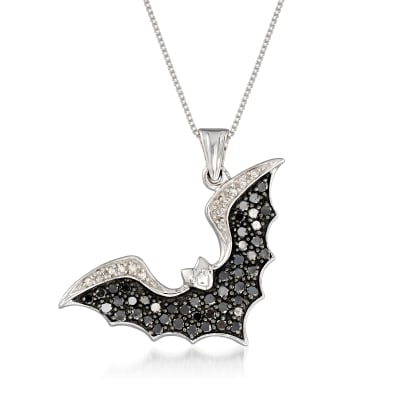 1.04 ct. t.w. Black and White Diamond Bat Pendant Necklace in Sterling Silver