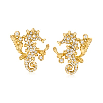 .50 ct. t.w. Diamond Seahorse Earrings in 18kt Gold Over Sterling
