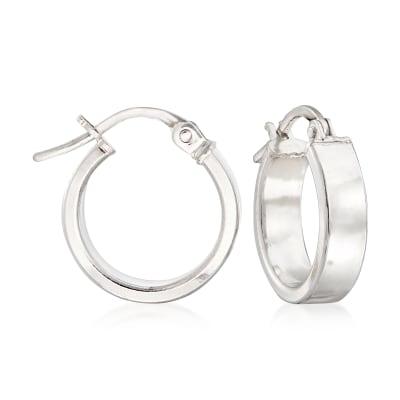 Italian 18kt White Gold Hoop Earrings