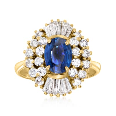 C. 1980 Vintage 1.35 Carat Sapphire Ring with 1.20 ct. t.w. Diamonds in 18kt Yellow Gold