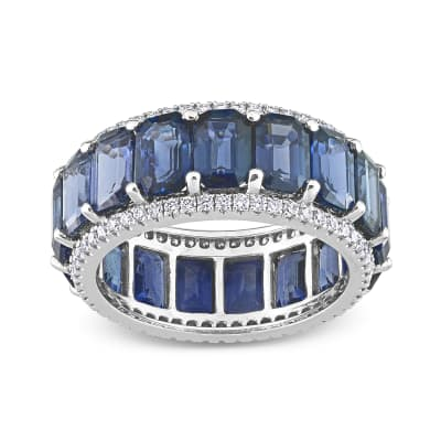 9.40 ct. t.w. Sapphire Eternity Band with .57 ct. t.w. Diamonds in 14kt White Gold