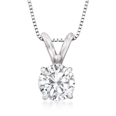 .75 Carat Diamond Solitaire Necklace in 14kt White Gold
