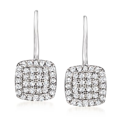 .50 ct. t.w. Diamond Square Drop Earrings in Sterling Silver