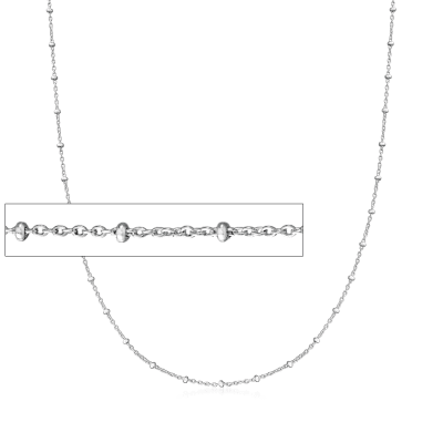 Italian Sterling Silver Beaded Station Cable Chain Necklace