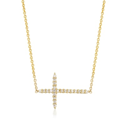 Roberto Coin .10 ct. t.w. Diamond Sideways Cross Necklace in 18kt Yellow Gold