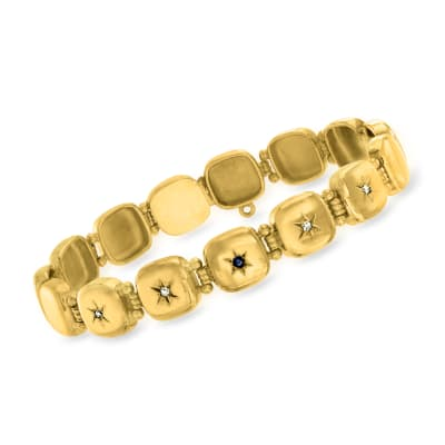 C. 1930 Vintage 12kt Yellow Gold Square-Link Star Bracelet with Diamond and Sapphire Accents