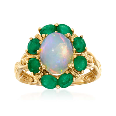 White Opal and 1.30 ct. t.w. Emerald Ring in 14kt Yellow Gold
