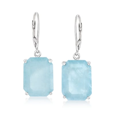 20.00 ct. t.w. Aquamarine Drop Earrings in Sterling Silver