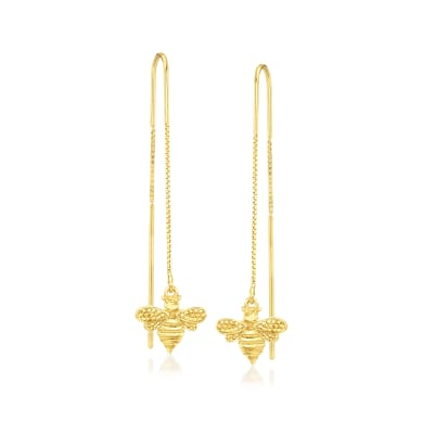 Italian 18kt Gold Over Sterling Bee Threader Drop Earrings