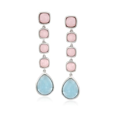 Pink Opal and 4.90 ct. t.w. Milky Aquamarine Drop Earrings in Sterling Silver