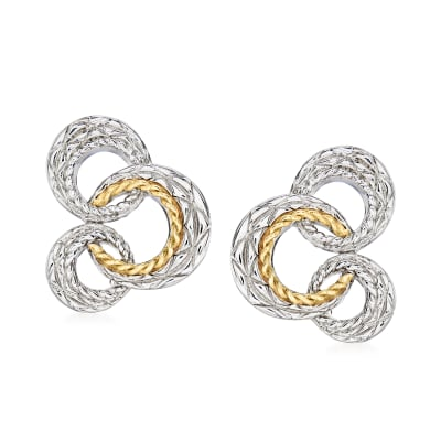 """Andrea Candela """"Bubbles"""" Sterling Silver and 18kt Yellow Gold Open-Circle Earrings"""