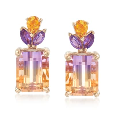 3.70 ct. t.w. Ametrine Floral Earrings with Citrines and Amethysts in 14kt Yellow Gold
