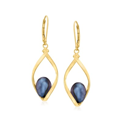 8-9mm Black Cultured Pearl Twisted Drop Earrings in 14kt Yellow Gold