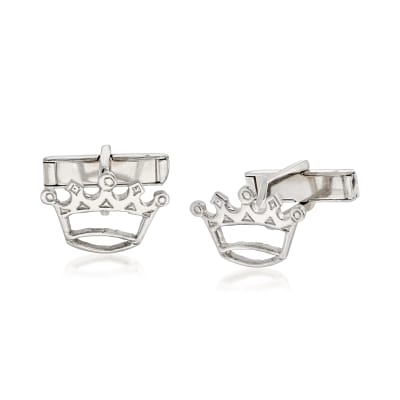 C. 1970 Vintage Men's Crown Cuff Links in 14kt White Gold