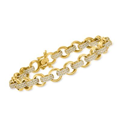 5.50 ct. t.w. CZ Link Bracelet in 18kt Gold Over Sterling