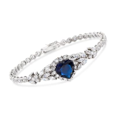 6.00 ct. t.w. Simulated Sapphire and 6.90 ct. t.w. CZ Heart Bracelet in Sterling Silver