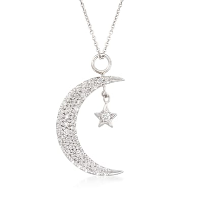Roberto Coin .29 ct. t.w. Diamond Moon and Star Pendant Necklace in 18kt White Gold