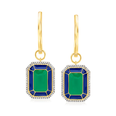.25 ct. t.w. Diamond Hoop Drop Earrings with Blue and Green Enamel in 18kt Gold Over Sterling