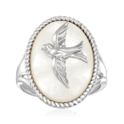 Mother-Of-Pearl Bird Ring with Diamond Accent in Sterling Silver