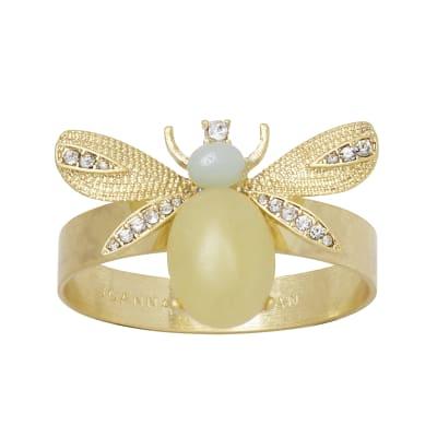 Joanna Buchanan Set of 4 Lemon Jasper Etched Wing Bug Napkin Rings
