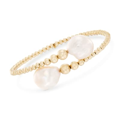 13-14mm Cultured Baroque Pearl Beaded Cuff Bracelet
