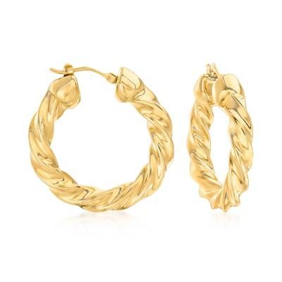 Andiamo 14kt Yellow Gold Over Resin Twisted Hoop Earrings from Italy