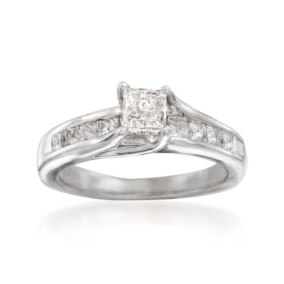 C. 2010 Vintage .90 ct. t.w. Princess-Cut Diamond Engagement Ring in 14kt White Gold