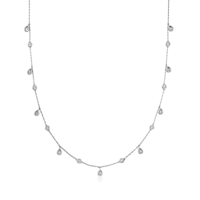 .16 ct. t.w. Diamond Station Drop Necklace in Sterling Silver