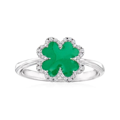 .10 ct. t.w. Diamond and Green Enamel Clover Ring in Sterling Silver