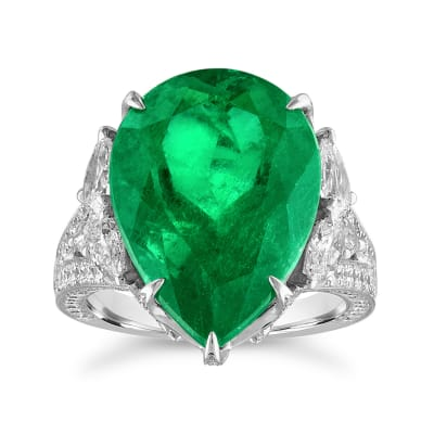15.00 Carat Colombian Emerald and 6.60 ct. t.w. Diamond Ring in 18kt White Gold