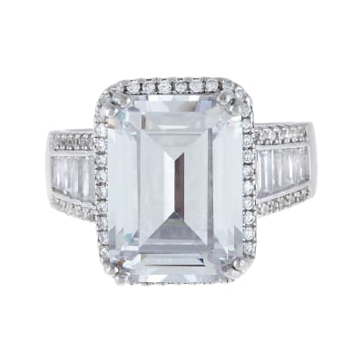 7.60 Carat CZ Ring with .66 ct. t.w. CZs in Sterling Silver
