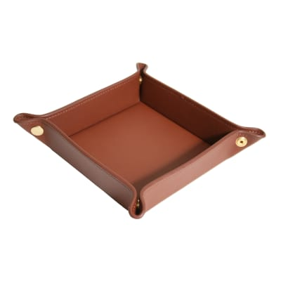 Royce Tan Leather Valet Tray