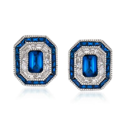 Simulated Sapphire and .50 ct. t.w. CZ Earrings in Sterling Silver
