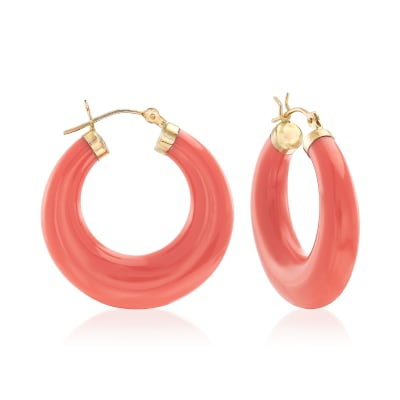 Coral Hoop Earrings in 14kt Yellow Gold