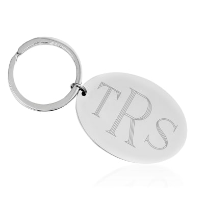 Sterling Silver  Engravable Oval Key Chain