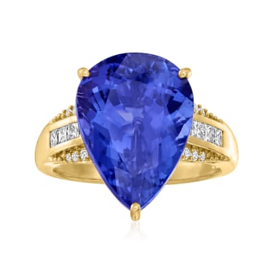 11.00 Carat Tanzanite Ring with .30 ct. t.w. Diamonds in 18kt Yellow Gold