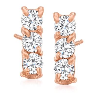 .24 ct. t.w. Diamond Bar Stud Earrings in 14kt Rose Gold