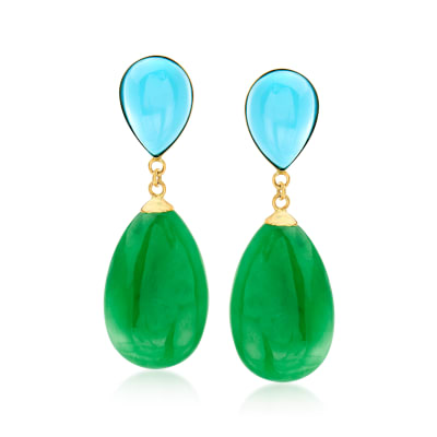 Turquoise and Jade Teardrop Earrings in 14kt Yellow Gold