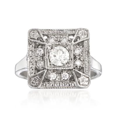 C. 2000 Vintage .47 ct. t.w. Diamond Cocktail Ring in 14kt White Gold